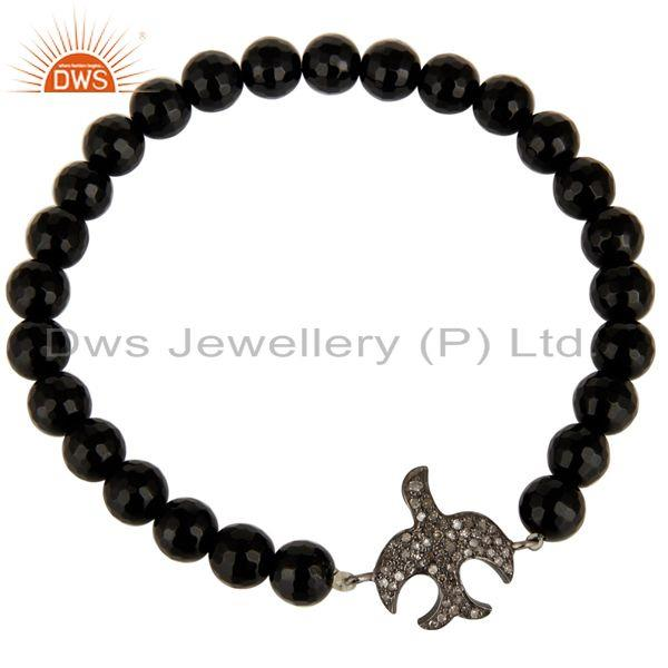 Exporter 925 Silver Pave Diamond Flying Bird Charms Black Onyx Gemstone Stretch Bracelet