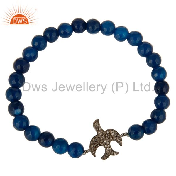 Exporter Blue Aventurine Beads Sterling Silver Pave Diamond Flying Birds Charms Bracelet