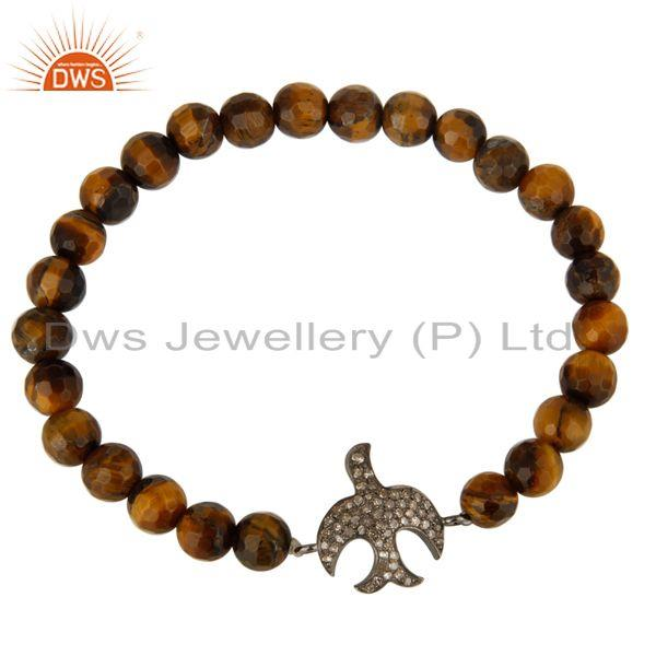 Exporter Faceted Tiger Eye Stretch Bracelet With Pave Set Diamond Flying Bird Charms