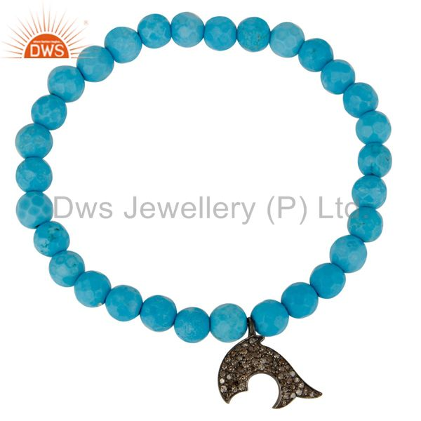 Exporter Pave Diamond Silver Dolphin Charms Faceted Turquoise Beaded Stretch Bracelet