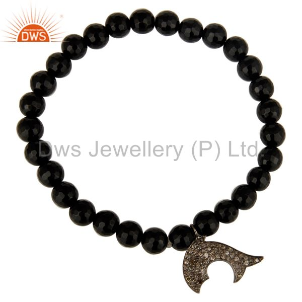 Exporter Natural Black Onyx Sterling Silver Pave Diamond Dolphin Charms Stretch Bracelet