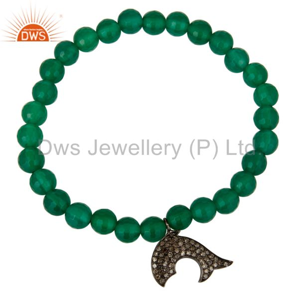 Exporter Natural Green Onyx Sterling Silver Pave Diamond Dolphin Charms Stretch Bracelet