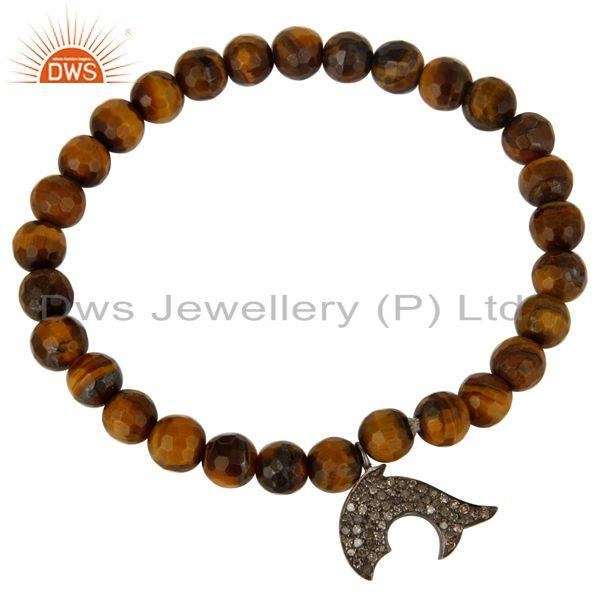 Exporter 925 Sterling Silver Diamond Accent Dolphin Charms Tiger Eye Stretch Bracelet
