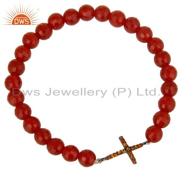 Exporter Spessartite Garnet Silver Cross charms Carnelian Gemstone Stretch Bracelet