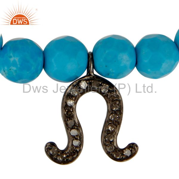 Exporter 925 Sterling Silver Pave Diamond Horseshoe Charm Bracelet With Turquoise Beads