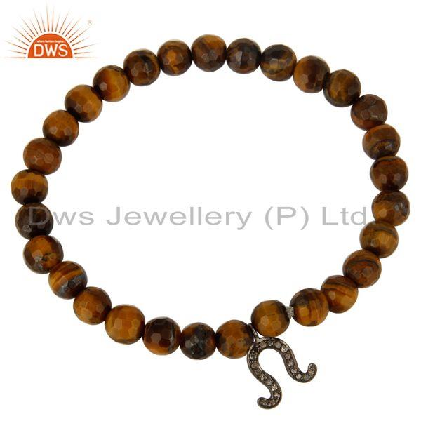 Exporter Tiger Eye Gemstone Sterling Silver Diamond Accent Horseshoe Charm Bracelet