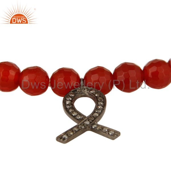 Exporter Natural Carnelian Sterling Silver Pave Diamond Awareness Ribbon Charms Bracelet