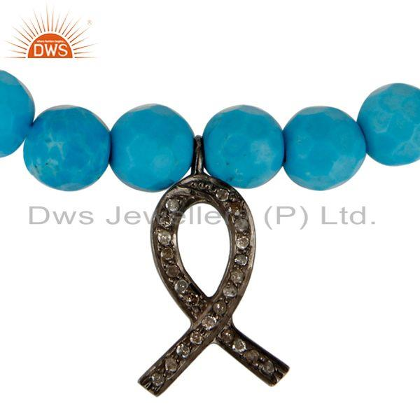 Exporter Turquoise Gemstone Stretch Bracelet With Pave Diamond Ribbon Charm Jewelry