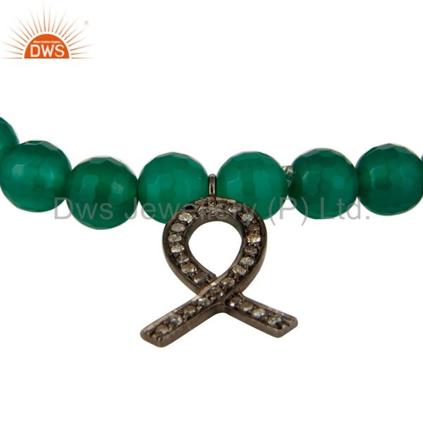 Exporter Natural Green Onyx Sterling Silver Pave Diamond Awareness Ribbon Charms Bracelet