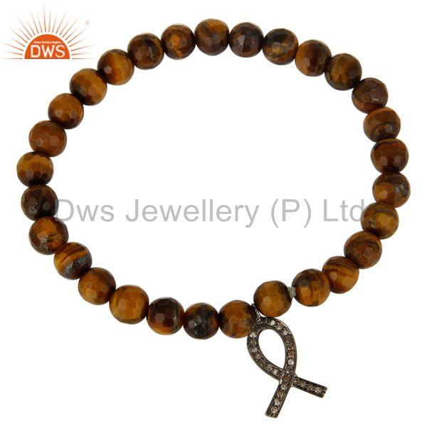Exporter Tiger Eye Gemstone Sterling Silver Pave Diamond Ribbon Charms Bracelet