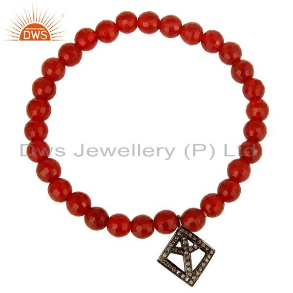 Exporter Faceted Carnelian Beads Stretch Bracelet With Silver Pave Diamond Peace Charms
