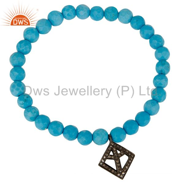 Exporter Pave Diamond 925 Silver Peace Charm Turquoise Gemstone Stretch Bracelet