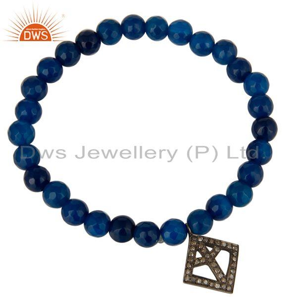 Exporter Faceted Blue Onyx Gemstone Adjustable Bracelet With Silver Pave Diamond Charms