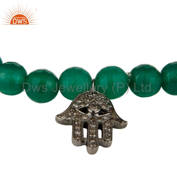 Exporter 925 Sterling Silver Pave Diamond Hamsa Charms Green Onyx Stretch Bracelet