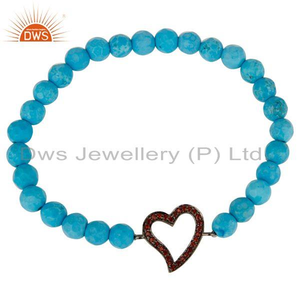 Exporter Faceted Turquoise Adjustable Bracelet With spessartite Garnet Heart Charms