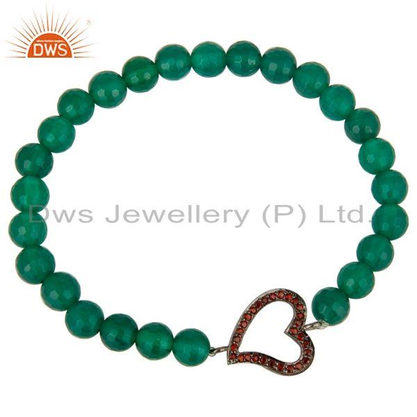Exporter Faceted Green Onyx Gemstone Stretch Bracelet With Spessartite Garnet Heart Charm