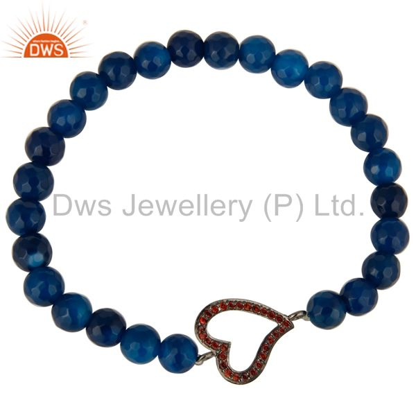 Exporter Faceted Blue Onyx Gemstone Stretch Bracelet With Spessartite Garnet Heart Charms