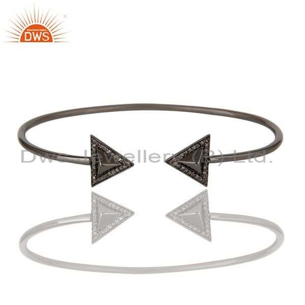 Exporter Black Rhodium Sterling Silver Diamond Pyramid Cuff Pave Diamond Bangle Bracelet