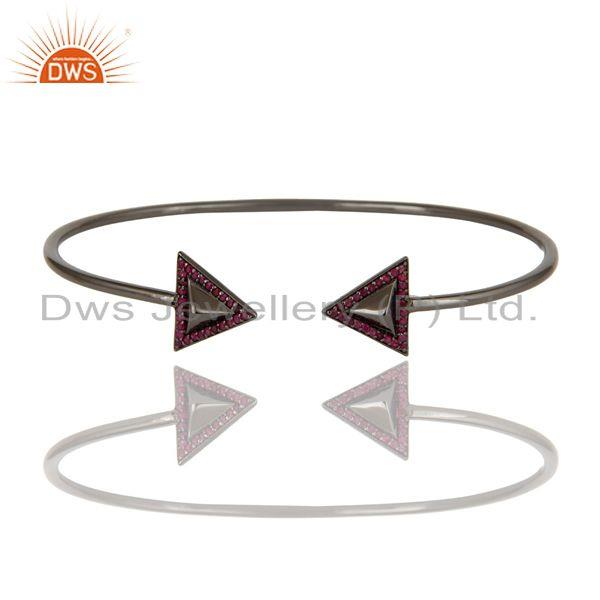 Exporter Black Rhodium Sterling Silver Pyramid Cuff Pave Natural Ruby Bangle