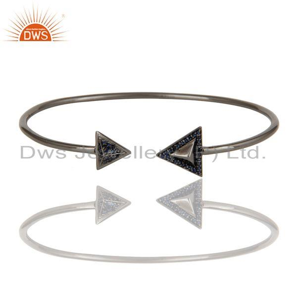 Exporter 925 Sterling Silver Blue Sapphire Gemstone Bangle Bracelet  Jewelry