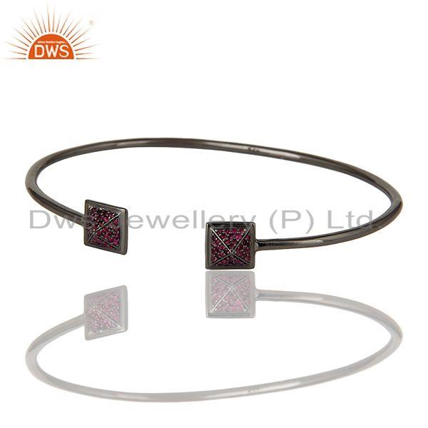 Exporter Natural Ruby Sterling Silver Pyramid Cuff Jewelry Bangle