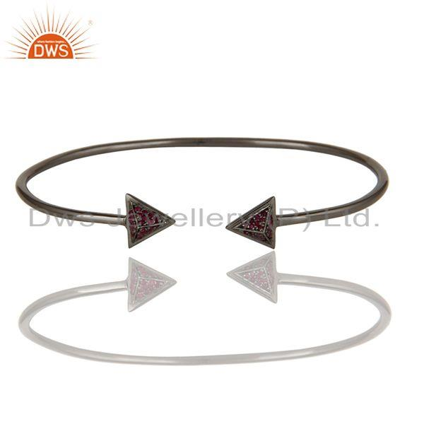 Exporter Natural Ruby and Sterling Silver Pyramid Design Sleek Cuff Bangle Bracelet