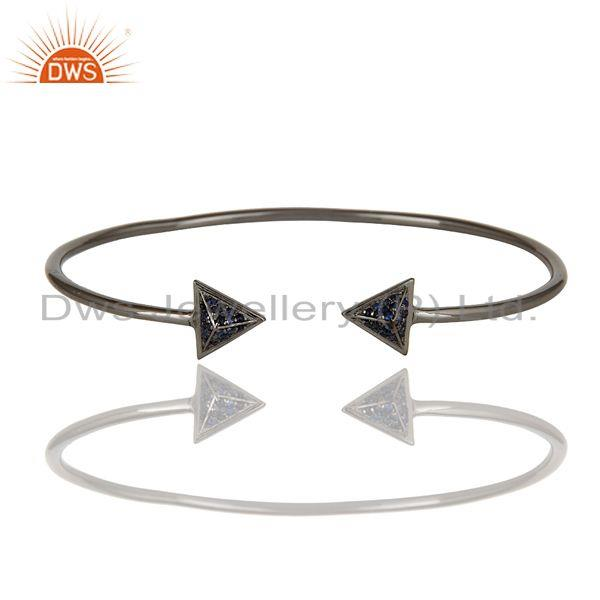 Exporter Blue Sapphire and Sterling Silver Pyramid Design Sleek Cuff Bangle Bracelet