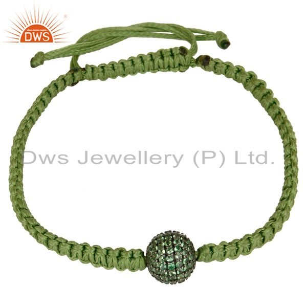 Exporter Traditional Handmade 925 Sterling Silver Tsavourite Bracelet With Cotton Dori