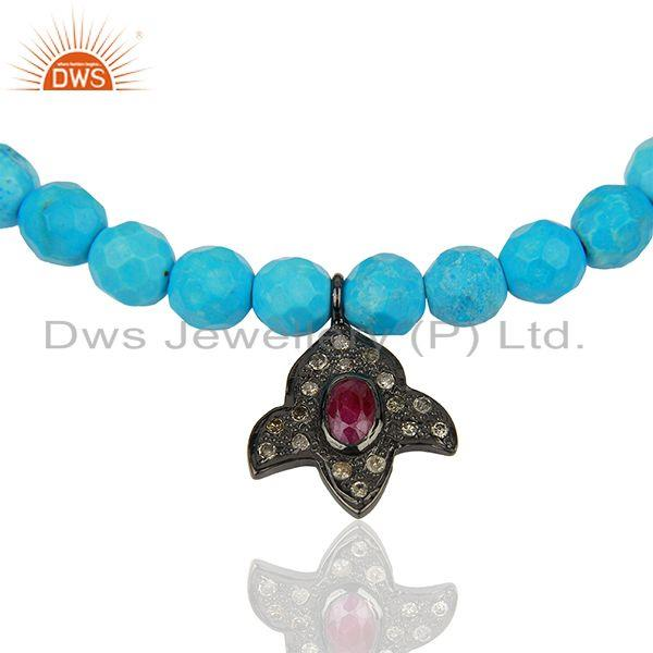 Exporter Turquoise Beads Gemstone Pave Diamond Strechable Bracelet Jewelry