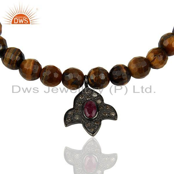 Exporter Wholesale Pave Diamond Tiger Eye Gemstone Beads Bracelet Manufacturer