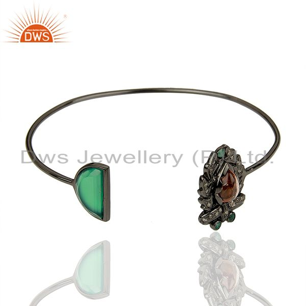 Exporter Flower Design 925 Silver Green Onyx Pave Diamond Cuff Bangle Jewelry