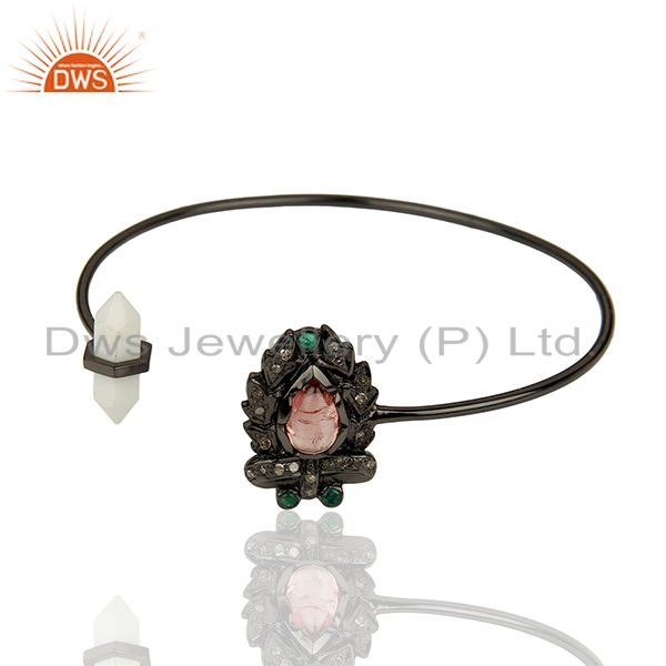 Exporter Howlite Gemstone Pave Diamond 925 Silver Cuff Bangle Jewelry Supplier