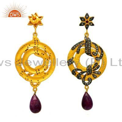 Exporter 18K Yellow Gold Sterling Silver Pave Diamond And Ruby Dangle Earrings