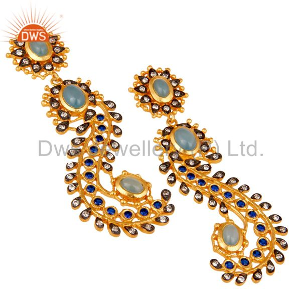Exporter Blue Chalcedony and Zircon Sterling Silver Gold Plated Dangler Earring Stud