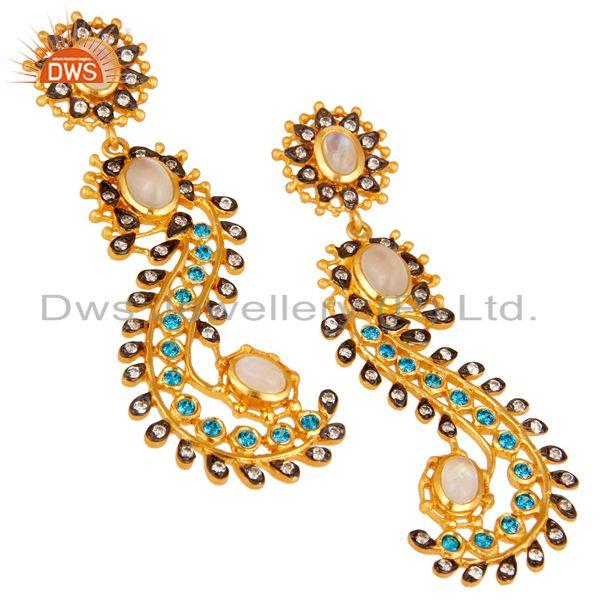 Exporter Rainbow Moonstone and Zircon Sterling Silver Gold Plated Dangler Earring Stud