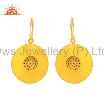 Exporter 22K Yellow Gold Plated Sterling Silver Pave Set Diamond Disc Dangle Earrings