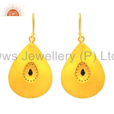 Exporter 18K Yellow Gold Plated Sterling Silver Cubic Zirconia Drop Dangle Hook Earrings