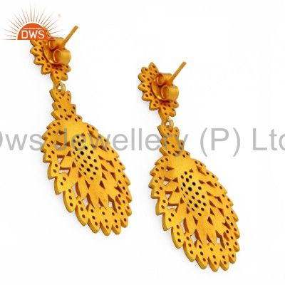 Exporter 18K Yellow Gold Plated Sterling Silver Pave Set Diamond Vintage Dangle Earrings