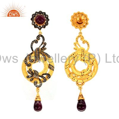 Exporter 18K Yellow Gold Plated Sterling Silver Pave Diamond And Ruby Dangle Earrings