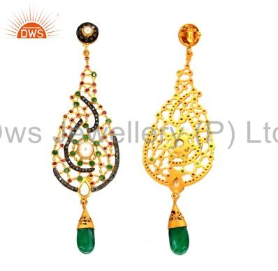 Exporter 18K Gold Plated Sterling Silver Pave Diamond And Emerald, Pearl Dangle Earrings