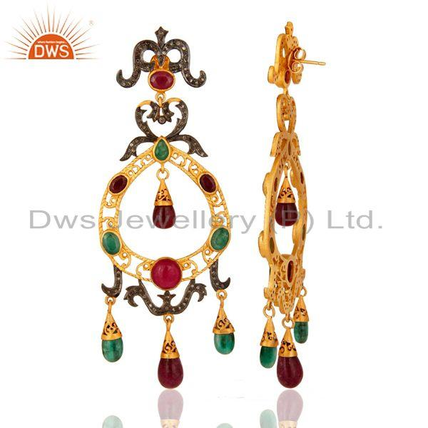 Exporter Natural Ruby And Emerald Pave Diamond Designer Victorian Silver Earrings