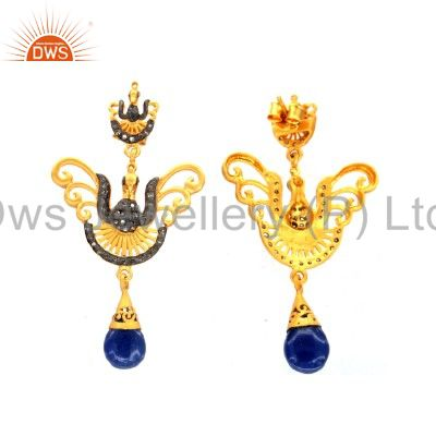 Exporter 14K Gold Sterling Silver White Topaz And Blue Sapphire Peacock Dangle Earrings