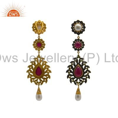 Exporter 18K Yellow Gold Plated Sterling Silver Ruby And Pave Diamond Dangle Earrings