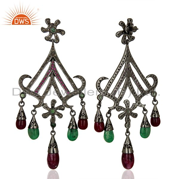 Exporter Black Rhodium Plated Pave Diamond Ruby Gemstone Earrings Supplier