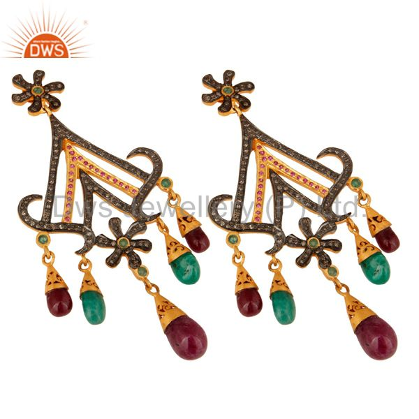 Exporter 18K Gold And Sterling Silver Pave Diamond Ruby & Emerald Chandelier Earrings