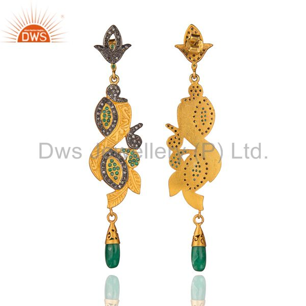 Exporter Long Dangler!Gold Plated Sterling 925 Silver Real Diamond Pave Emerald Earring