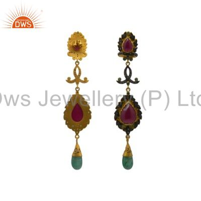 Exporter Pave Set Diamond And Emerald, Ruby 18K Gold Sterling Silver Dangle Earrings