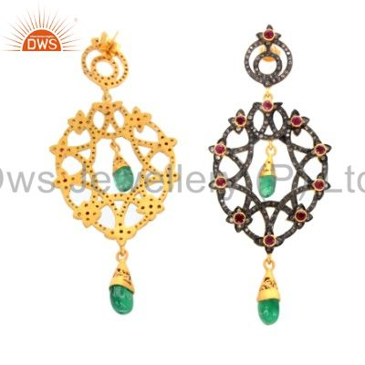 Exporter 18K Yellow Gold Plated Silver Green Onyx & Pink Glass Vintage Look Earrings