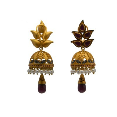Exporter 18K Gold Sterling Silver Pave Diamond And Ruby, Pearl Womens Jhumka Earrings