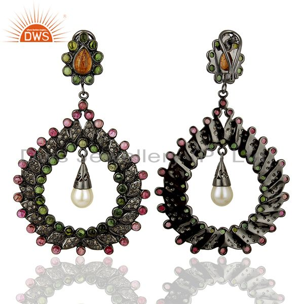 Exporter Handamde Pave Diamond Ruby Gemstone Earrings Jewelry Manufacturer